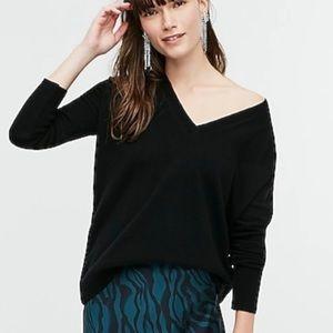 J crew black cashmere vneck boyfriend sweater